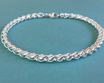 Sterling Silver Bracelet, Silver Wheat Bracelet, Silver Wheat Chain, Woven Silver Bracelet, Wheat Bracelet, Silver Chain Bracelet