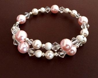 Pearl Bracelet, Pearl Wrap Bracelet, Sterling Silver Bracelet, Swarovski Pearl Bracelet, Swarovski Crystal Bracelet, Beaded Bracelet, Bridal
