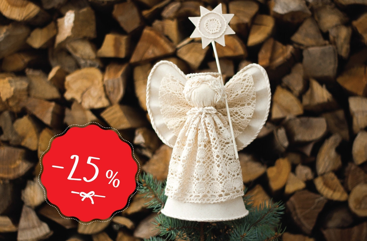Christmas Angel Tree Topper White Cotton Christmas By MaLilili