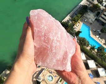 Large Rose Quartz Crystal infused w/  Reiki / Chakra Healing Crystal