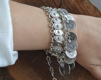 Coin Bracelet, Boho Bracelet, Gypsy Bracelet, Sterling Silver Plated, Tribal Bracelet, Coins tribal bracelet, ethnic Bracelet (B160)