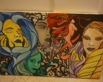 Original Canvas Painting by Giuliana - Faces