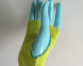 Lime green texting gloves