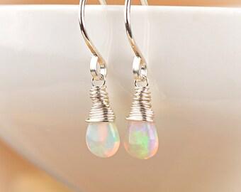Fire Opal Earrings, Natural Ethiopian Opal Jewelry, October Birthstone, Leverback Earrings, 14K Rose Gold, Gold Filled, Sterling Silver
