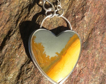 Owyhee Picture Jasper Heart, Silver, Pendant, Heart Shaped, Canyon Scenery, Blue-Grey, Honey Colored