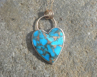Sweet Turquoise Heart Bronze Infused, Silver, Goldfilled, Heart, Kingman Turquoise, Robin's Egg Blue, Bronze Infused