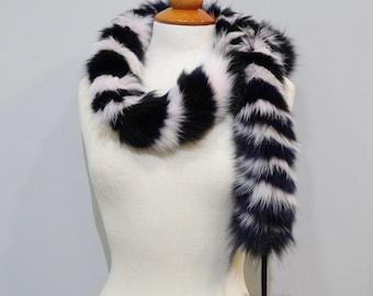 Baby pink - dark blue - black twisted scarf F112