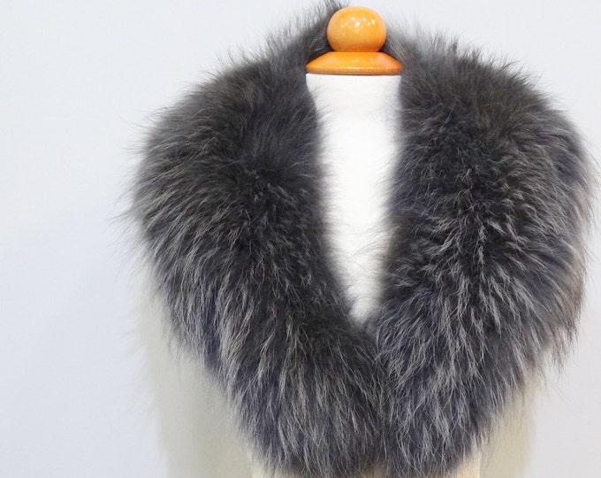 Real Large Fox Fur Collar,Fur Collar,fur for Leather Jacket F434