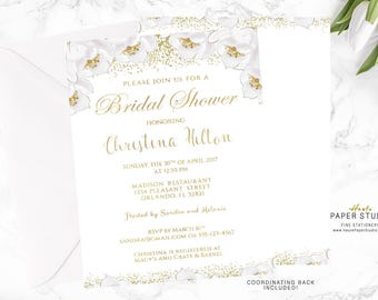 White and Gold Bridal Shower Invitation, Floral Bridal Invite, Party Invitation, Bridal Invitation, Glitter Invitation, Bridal Invite, BR006