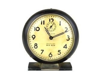 Westclox Big Ben Alarm Clock Black and White Wind Up Alarm Clock Needs Work 1930s Alarm Clock