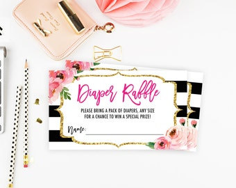 Floral Diaper Raffle Ticket, Diaper Raffle Printable, Kate Inspired Baby Shower Games, Diaper Raffle Cards, Floral Diaper Raffle Cards