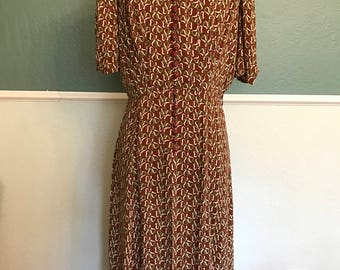 1930's 1940's Brown, Green and White Clover Dress Needs Repairs M-L