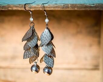 Vintage Silver Tin Dangle Earrings - Leafy Punched Tin Rhinestone Silver Ball Earrings - Silver Dangle Earrings - Vintage Fashion Jewellery
