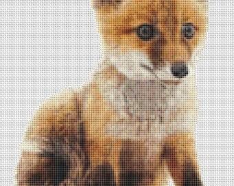 Fox Cub counted cross stitch chart