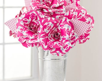 Paper Flowers BOUQUET Pink Elephant Roses: Handmade, Custom, FAST SHIP!! Paper Anniversary, Birthday, Grad 2017, Congrats, Send Paper Blooms