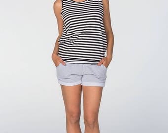 Maternity Shorts/ Over-the-bump jersey/Gray