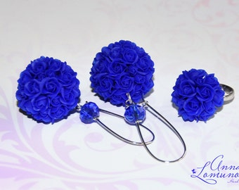 Royal blue Jewelry Set Royal Blue rose Jewelry Blue Flower Jewelry Girlfriend gift Blue bridal earrings gift Royal Blue Wedding Jewelry