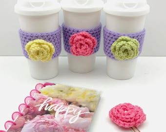 Purple Crochet Cup Cozy: Coffee/Tea Sleeve with flower (Pink,Green, or Yellow)    [051]