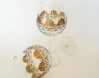 Anniversary Gift for Couple Set of 2 Hand Painted Wine Glasses Wedding Glasses Painted Glassware Glass Tableware Handmade Gift Wine Glass
