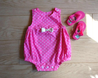Pink polka dot romper newborn, baby playsuit 0-3 months, newborn playsuit for baby 1 month, baby romper 2 months, playsuit 3 months