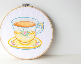 English Tea Cup Embroidery Chart Instant Download Fancy Bedroom Art Contemporary Cross Stitch Flowery Tea Cup Present Breakfast Tea Gift