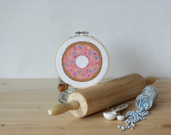 Donut Cross Stitch Pattern Doughnut Instant Download PDF Cute Baked Goods Pattern Frosted Donut Sprinkles Sweet Treats Pink Donut Embroidery