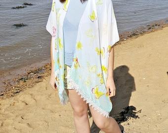 Beach Kimono - Boho Kimono - Beach cover up - Kimono Jacket - festival kimono - festival clothing - Kimono Robe - Kimono Dress - Poncho