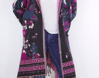 TRENDYBEGGARz Festival Jacket with Flower Design in Black & Purple with Hood. Free Spirit Clothing. Bohemian/Hippie style. Handmade.