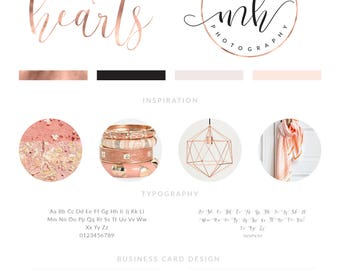 Rose Gold Logo, Watercolor Logo Design, Branding Kit, Branding Package, Calligraphy Logo Design, Feminine Logo, Makeup Logo Design, Logo