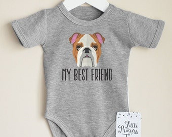 Bulldog Baby Bodysuit. Dog Baby Clothes. Dog Baby Announcement. My Best Friend. Add Your Own Text. Cute Baby Clothes.