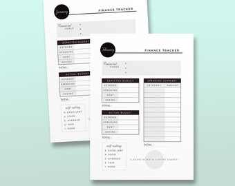 Monthly Finance Tracker Ink-Black, Printable Planner Inserts, Expenses Organizer, Mininal Spending Planner Kit, Printable Financial Planner