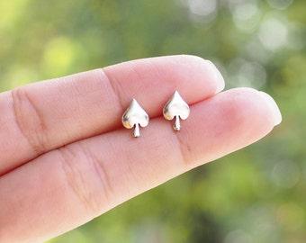 A pair of Spade Stud Earrings, 925 Sterling Silver, ace of spades studs, poker earrings, Card Earrings - SA208