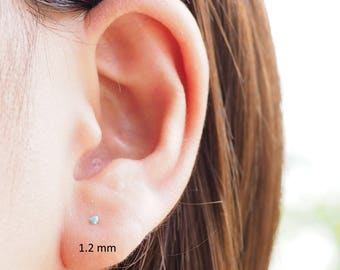 1.2 or 1.5 mm - Tiny Turquoise Stud Earrings, 925 Sterling Silver, cartilage earring, tiny stud Earrings - SA222-SA223