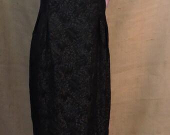 New Listing** - 2761 - Vintage Wiggle Dress Size M Black Brocade Spaghetti Strap Scalloped Hem 1950s