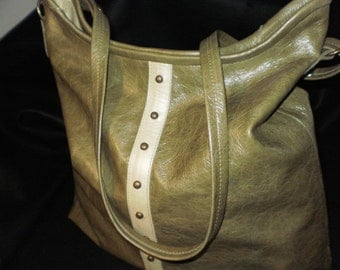 SALE!  Large Olive/Creme Leather Slouch/Cross-Body Bag/Poly/Cotton Print Lining - Lg. Interior Pocket/Antiqued Brass Studs /Adjustable Strap
