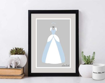 Disney's Cinderella Poster/Print - minimalist cinderella cinderelli princess dress poster art decor