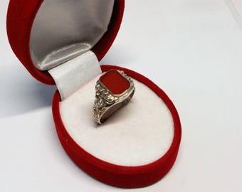 20.7 mm ring silver 835 carnelian nostalgic SR779