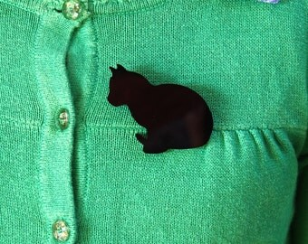 Black Cat Brooch, Cat Brooch, Cat Badge, Cat Pin, Black Cat Badge, Black Cat Pin, Gift For Her, Cat Jewelry, Brooches, Rockabilly Jewellery