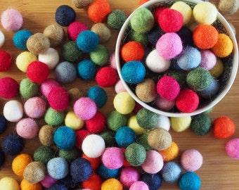 2cm Felt Balls - Pack of 50, Wool Felt Balls, 20mm Felt Balls, Mixed Felt Balls, Rainbow Felt Balls, 50x Felt Balls, Felt Balls Australia
