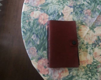 Vegan Red and Black Vinyl Journal With Diagonal Stitching