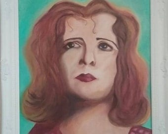 Clara Bow Portrait Painting.  Original Oil on Canvas, Framed