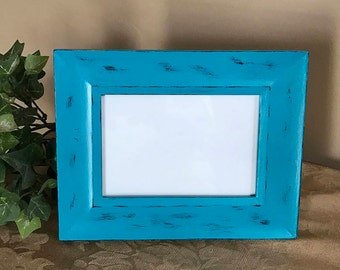 Turquoise Picture Frame; Distressed Picture Frame; Painted Picture Frame;  4x6 Picture Frame