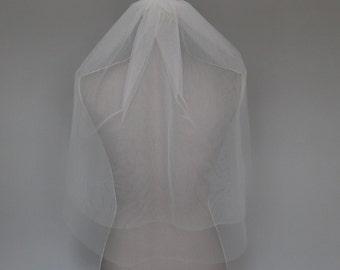Veil - Two Tier Elbow length ivory wedding veil   cut edge veil   wedding veil