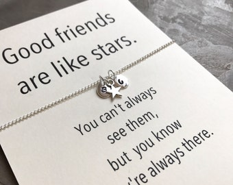 Friendship necklace, Bff necklace, Initial jewelry, Friendship jewelry, Best friend necklace, Best friend, Good friends are like stars,A5b
