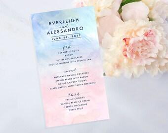 PRINTABLE: Pink and Blue Menu, Print at Home Menu, Pastel Pink, Pastel Blue, Wedding Menu, Bridal Shower Menu