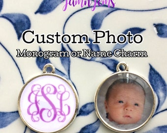 Personalized Photo Charm|Monogram Name or Initial|Customized|Double Sided|Custom Jewelry|Gift for her|Picture Charm|Unique Gifts for Women