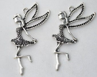 2 Pc Large Fairy Charms Antique Silver Tone 66x41mm- YD0583