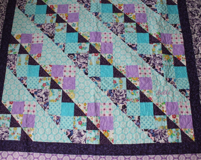 Twin size Girl quilt, Aqua blue and lavender quilt, Handmade quilt for girls,Purple quilt,Personalized quilt,Baby quilt,Full size quilt