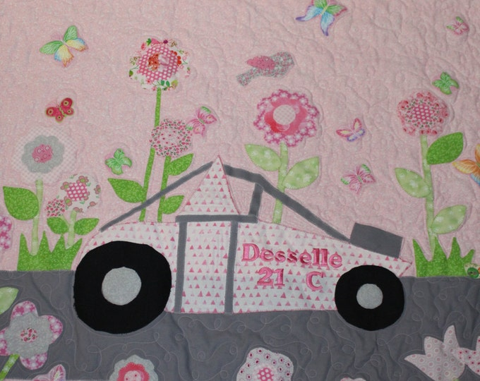 Baby girl quilt,Sprint car quilt,Custom made baby quilt,Race car applique quilt,Floral quilt,Floral garden quilt for baby girls