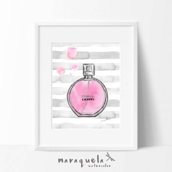 CHANCE CHANEL Parfum modern Illustration WATERCOLOR, elegant shades. Fragrance fashion glamour print Chanel Paris handame, abstract art wall